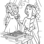 Merida, Queen Elinor Ask Princess Merida Playing Chest With Her Coloring Pages: Queen Elinor Ask Princess Merida Playing Chest with Her Coloring Pages