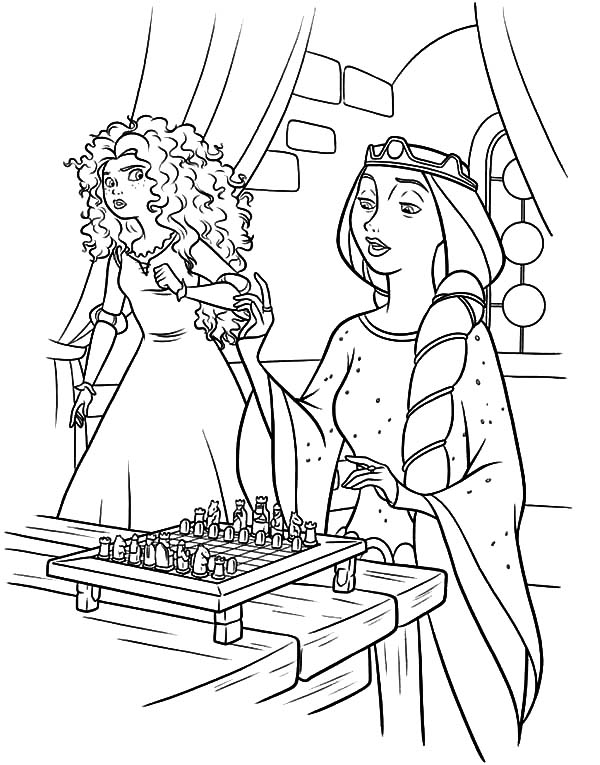 Merida, : Queen Elinor Ask Princess Merida Playing Chest with Her Coloring Pages