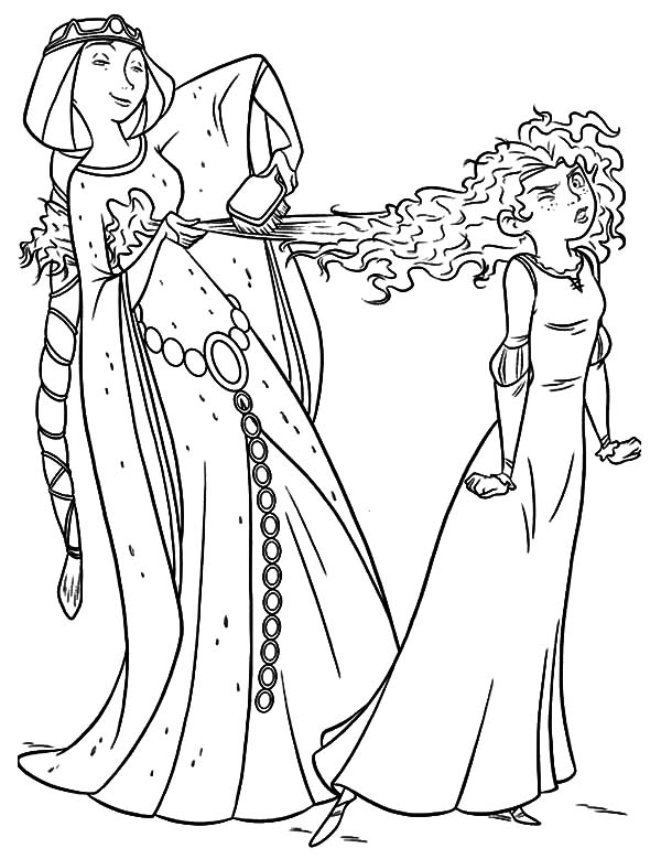 Merida, : Queen Elinor Comb Merida Hair Coloring Pages