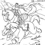 Merida, Queen Elinor Riding Horse With Merida Coloring Pages: Queen Elinor Riding Horse with Merida Coloring Pages