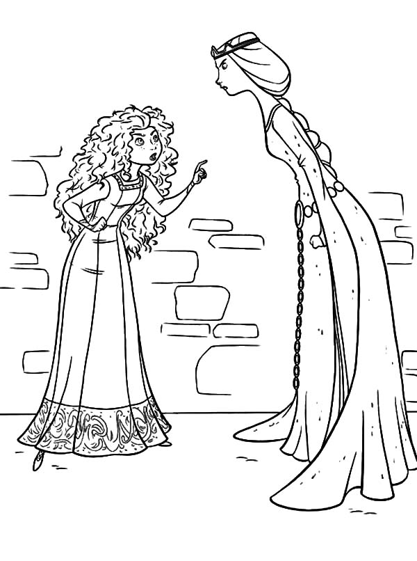 Merida, : Queen Elinor and Princess Merida Arguing Coloring Pages