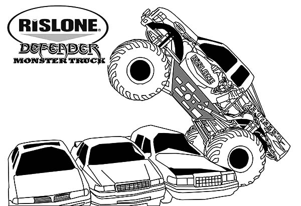Monster Jam, : Rislone Defender Monster Jam Coloring Pages