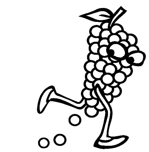 Grapes, : Running Away Grapes Coloring Pages