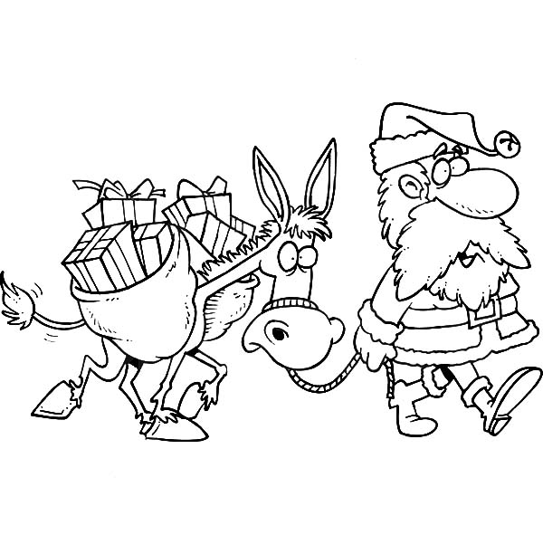 Mexican Donkey, : Santa Walking with a Mexican Donkey Coloring Pages