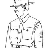 Military, Senior Drill Intructor In Military Coloring Pages: Senior Drill Intructor in Military Coloring Pages
