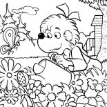 Garden, Sister Bear Watering The Garden Coloring Pages: Sister Bear Watering the Garden Coloring Pages