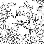 Garden, Sister Bear Watering The Garden Coloring Pages: Sister Bear Watering the Garden Coloring Pages