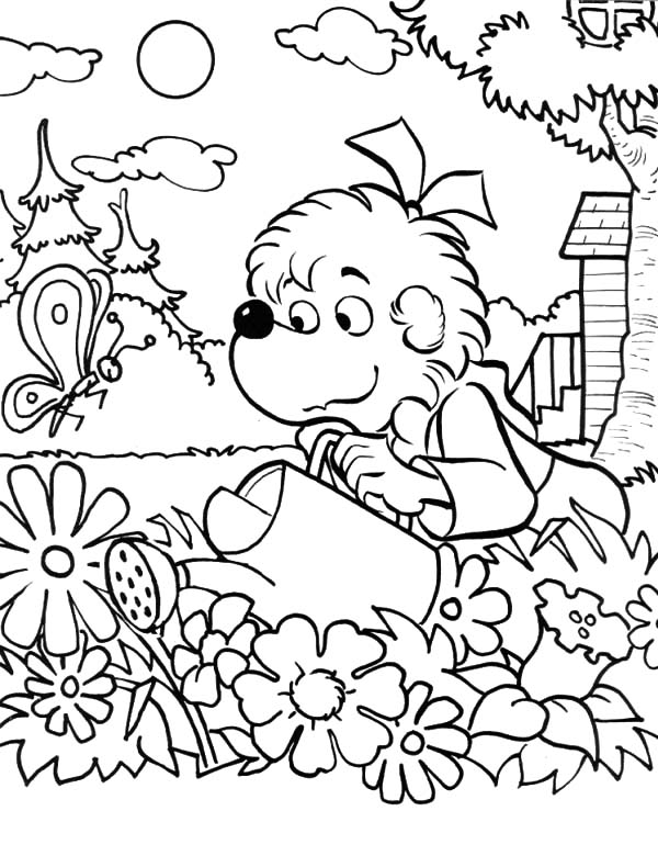 Garden, : Sister Bear Watering the Garden Coloring Pages