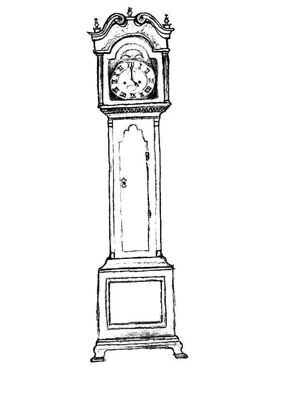 Grandfather Clock, : Sketch of Grandfather Clock Coloring Pages