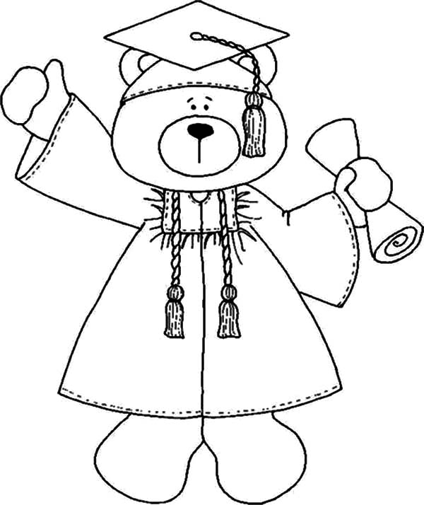 Graduation, : Smart Bear Graduation Coloring Pages