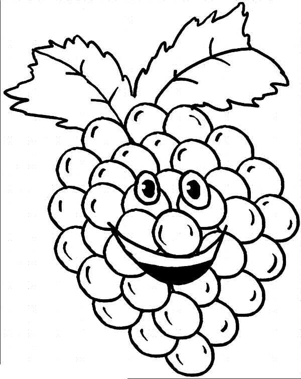 Grapes, : Smiling Grapes Coloring Pages