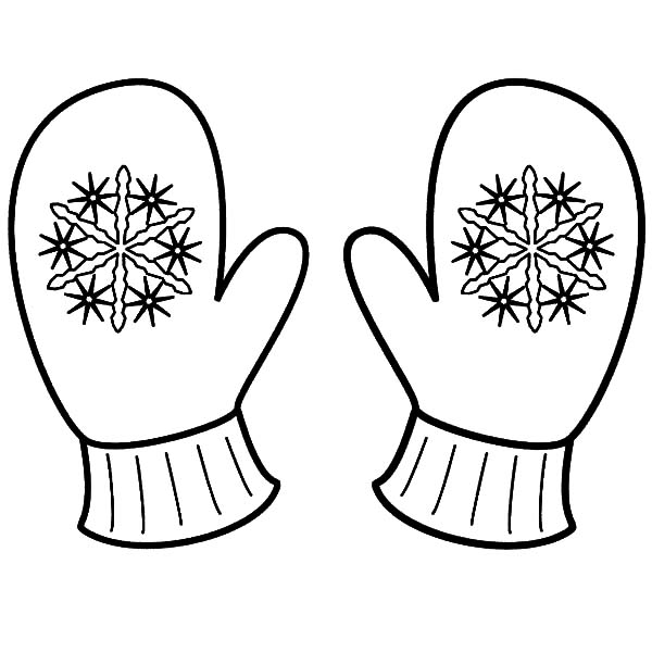 Mittens, : Snowflake Mittens Coloring Pages