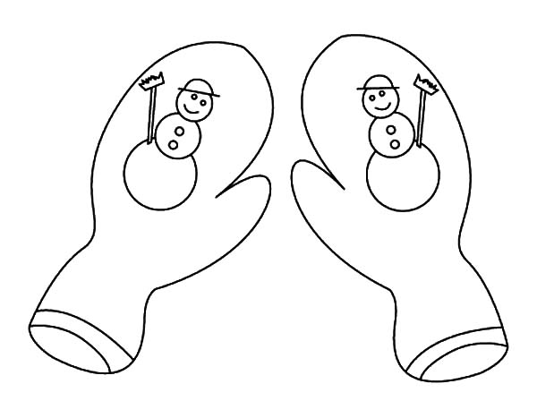 Mittens, : Snowman Mittens Coloring Pages
