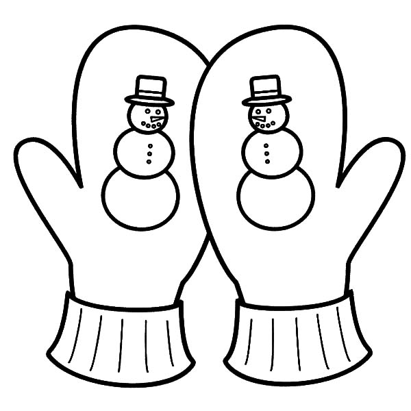 Mittens, : Snowy Season Mittens Coloring Pages