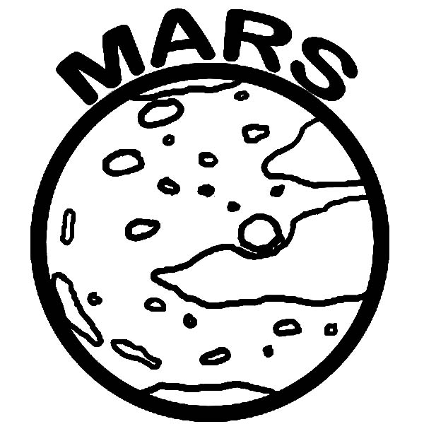 Mars, : Space Object Planet Mars Coloring Pages