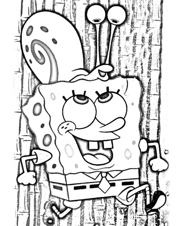 Gary, : Spongebob Carrying Gary the Snail on His Head Coloring Pages