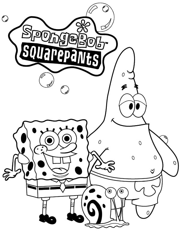 spongebob coloring pages thanksgiving in minecraft | Spongebob Squarepants And Patrick Taking Picture With Gary ...