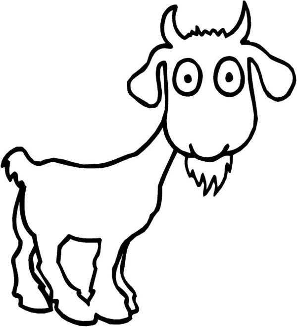 Goat, : Surprised Goat Coloring Pages