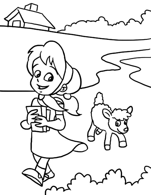 Mary Had a Little Lamb, : Sweet Smile Mary Had a Little Lamb Coloring Pages
