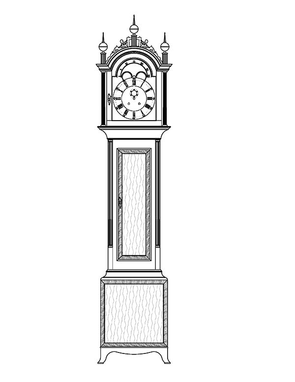 Grandfather Clock, : Tall Case Grandfather Clock Coloring Pages