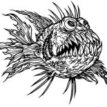 Monster Fish, Terrfying Monster Fish Coloring Pages: Terrfying Monster Fish Coloring Pages