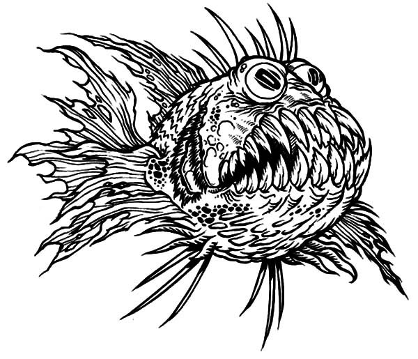 Monster Fish, : Terrfying Monster Fish Coloring Pages