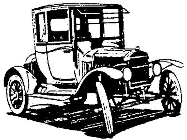 Model t Car, : Test Drive Model T Car Coloring Pages
