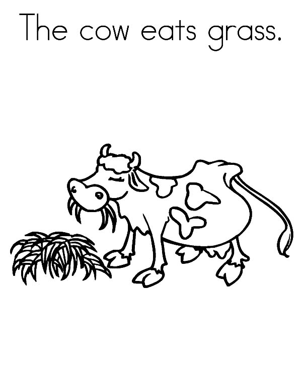 Grass, : The Cow Eats Grass Coloring Pages