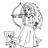 Merida, Three Little Cute Bear And Princess Merida Coloring Pages: Three Little Cute Bear and Princess Merida Coloring Pages