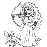 Merida, Three Little Cute Bear And Princess Merida Coloring Pages: Three Little Cute Bear and Princess Merida Coloring Pages
