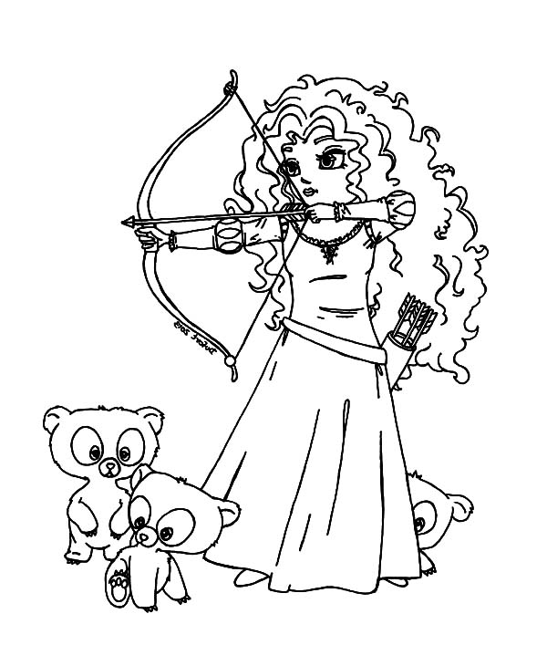 Merida, : Three Little Cute Bear and Princess Merida Coloring Pages