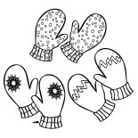 Mittens, Three Pair Of Mittens Coloring Pages: Three Pair of Mittens Coloring Pages
