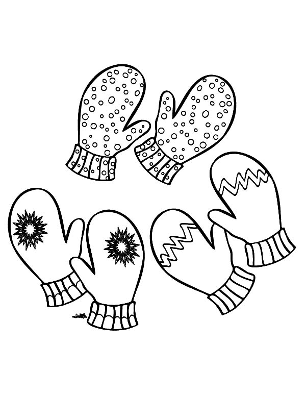 Three Pair Of Mittens Coloring Pages : Color Luna