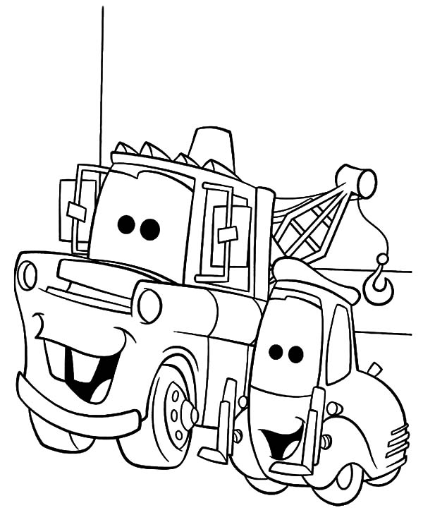 guido cars coloring pages | Lightning McQueen and Tow Mater Coloring Pages | Color Luna