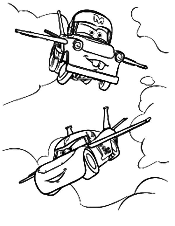 Mater, : Tow Mater Flying Coloring Pages