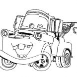 Mater, Tow Mater Going Around Town Coloring Pages: Tow Mater Going Around Town Coloring Pages