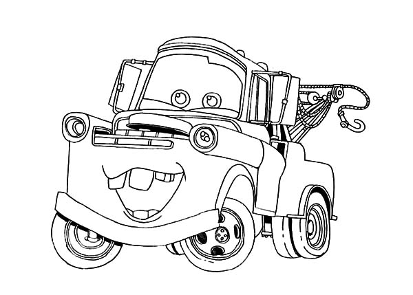 Mater, : Tow Mater Going Around Town Coloring Pages