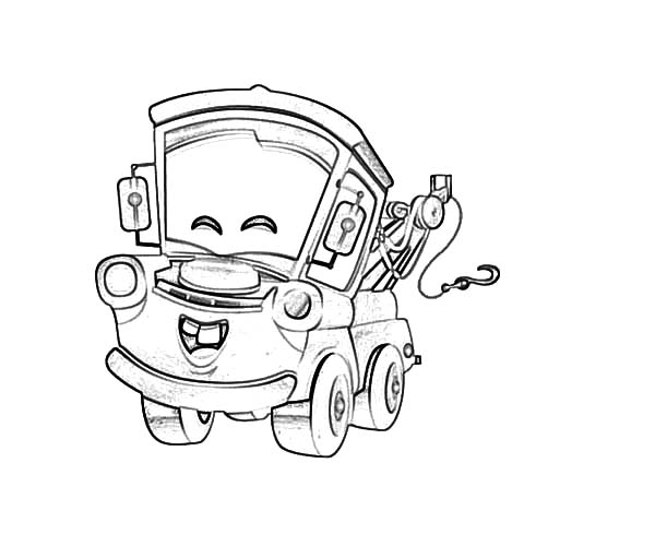 Mater, : Tow Mater Happy Face Coloring Pages