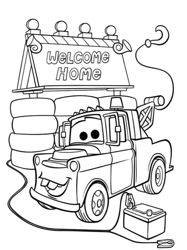 Mater, : Tow Mater House Coloring Pages