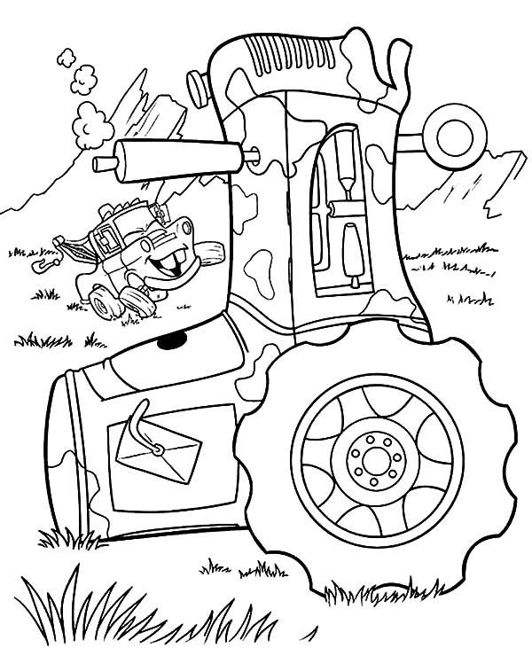 Mater, : Tow Mater Laughs at Guido Falling Down Coloring Pages
