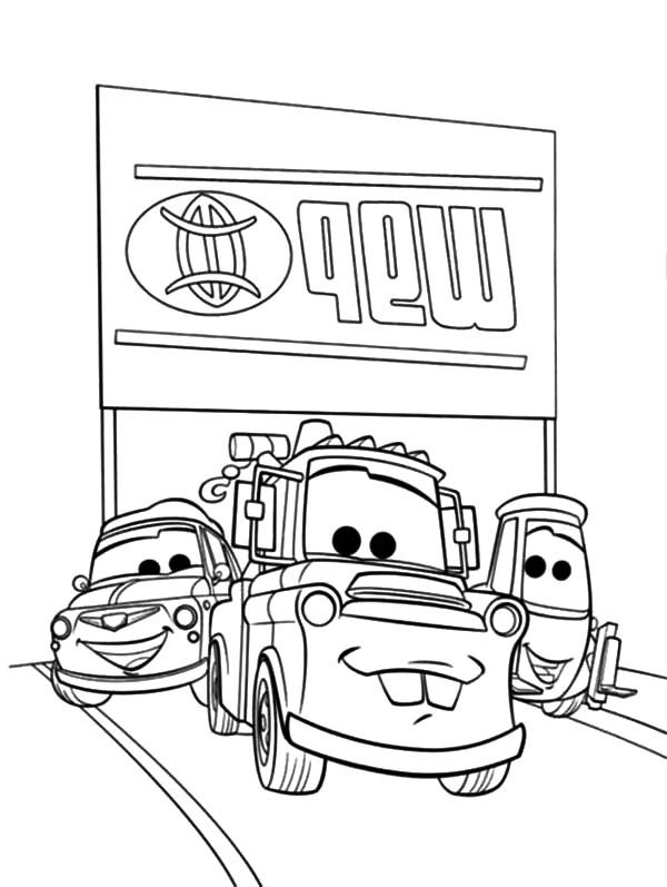 Mater, : Tow Mater Loved by His Friends Coloring Pages