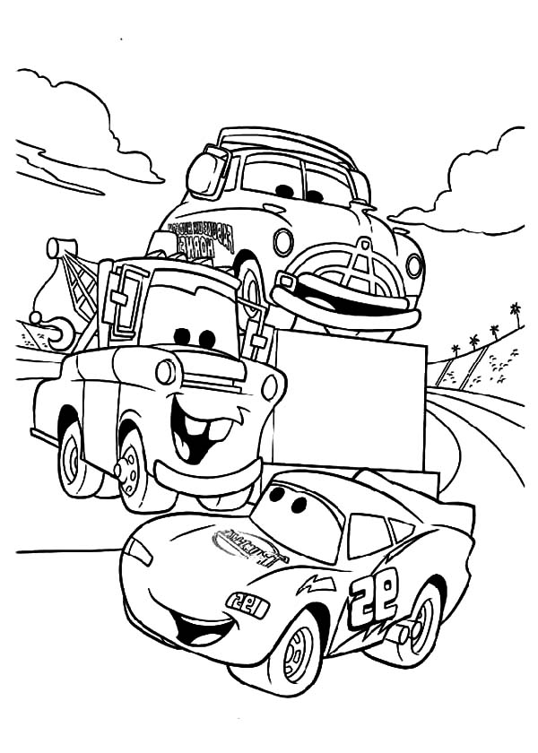 Mater, : Tow Mater Say Hallo to McQueen Coloring Pages