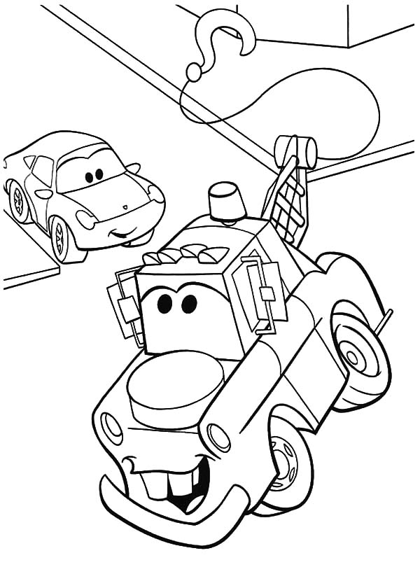 Mater, : Tow Mater Turning to Right Coloring Pages