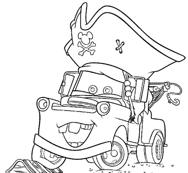 Mater, : Tow Mater Wearing Pirate Hat Coloring Pages