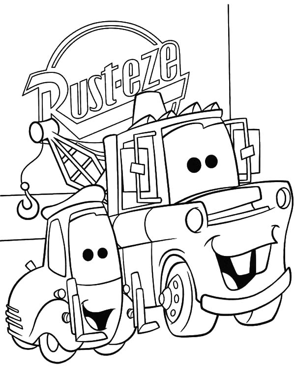 Mater, : Tow Mater and Guido Side by Side Coloring Pages