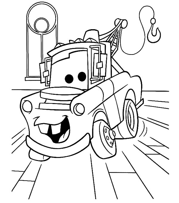 Mater, : Tow Mater in the Garage Coloring Pages