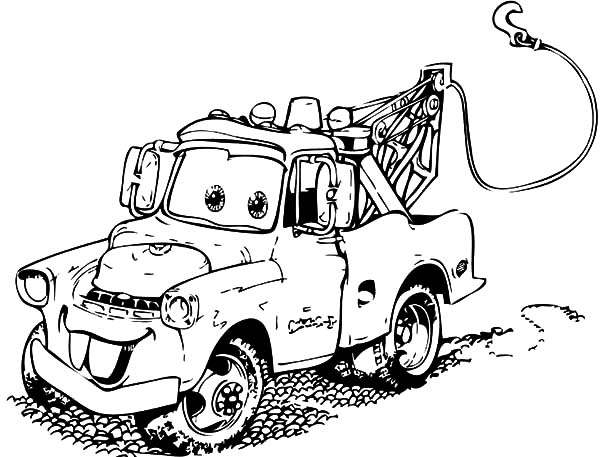 Mater, : Tow Mater is Very Dirty Coloring Pages