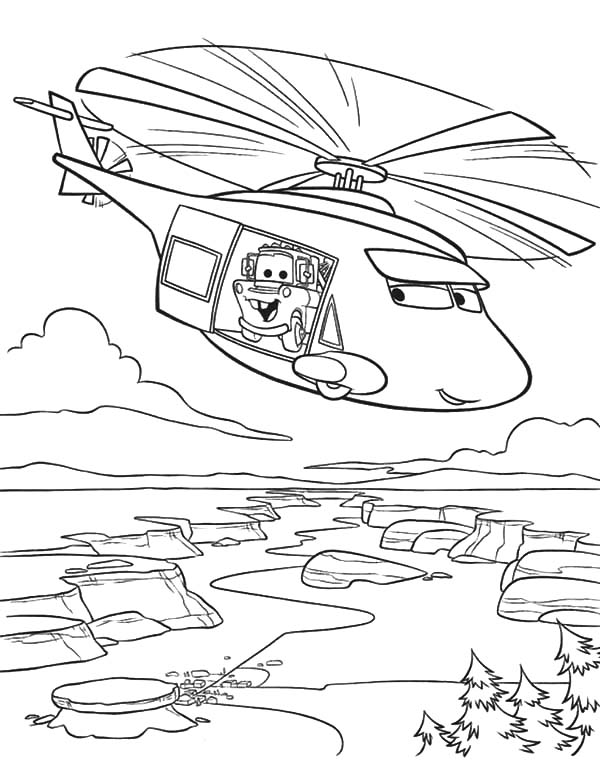 Mater, : Tow Mater on Helicopter Coloring Pages