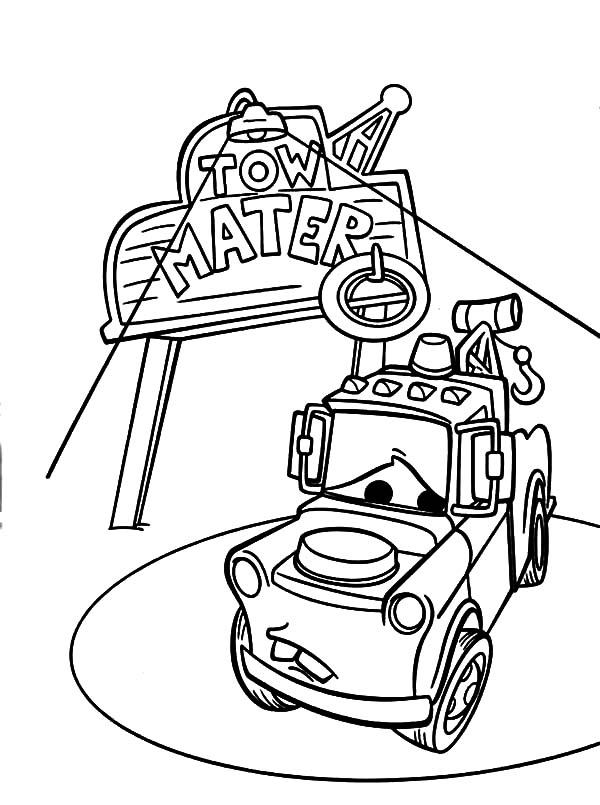 Mater, : Tow Mater on Spotlight Coloring Pages