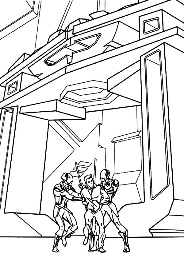 Tron, : Tron Cought by Ninja Robots Coloring Pages